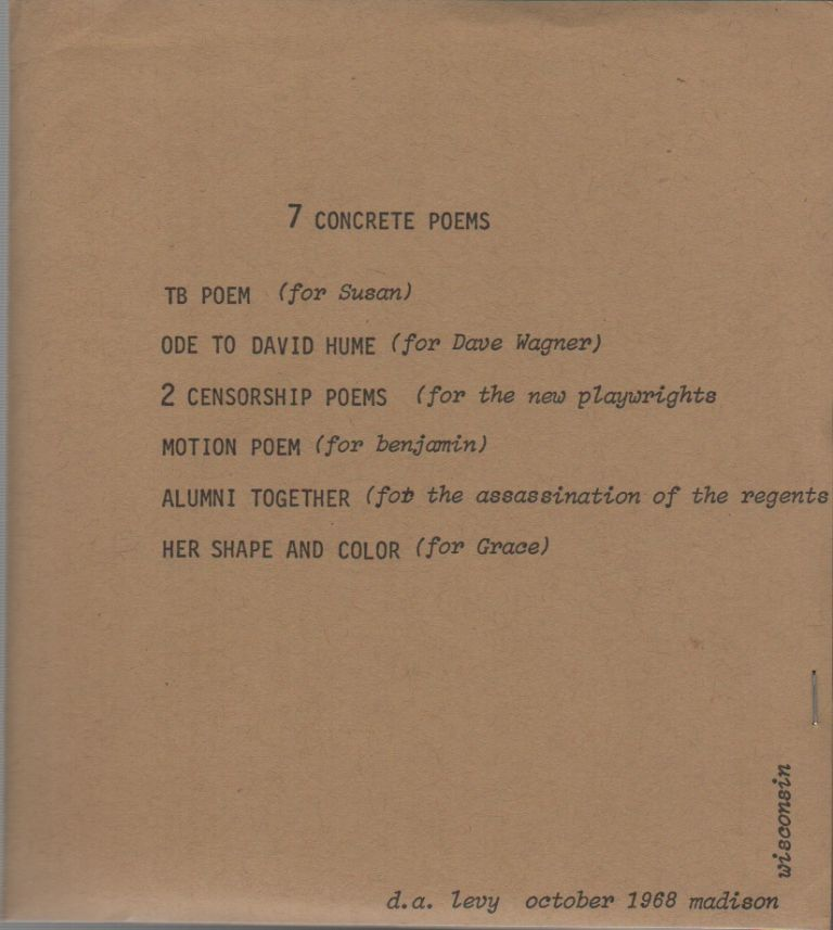 7 CONCRETE POEMS / CONCRETE POEMS / ELECTRIC GREEK POEMS. d. a. levy, Jon Beacham, Printer.