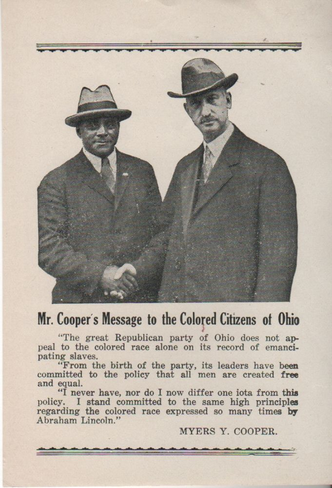 MR. COOPER'S MESSAGE TO THE COLORED CITIZENS OF OHIO [Broadside]. Myers Y. COOPER.