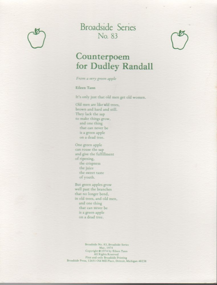 COUNTERPOEM FOR DUDLEY RANDALL: From a Very Green Apple (Broadside Series No. 83). Eileen TANN.