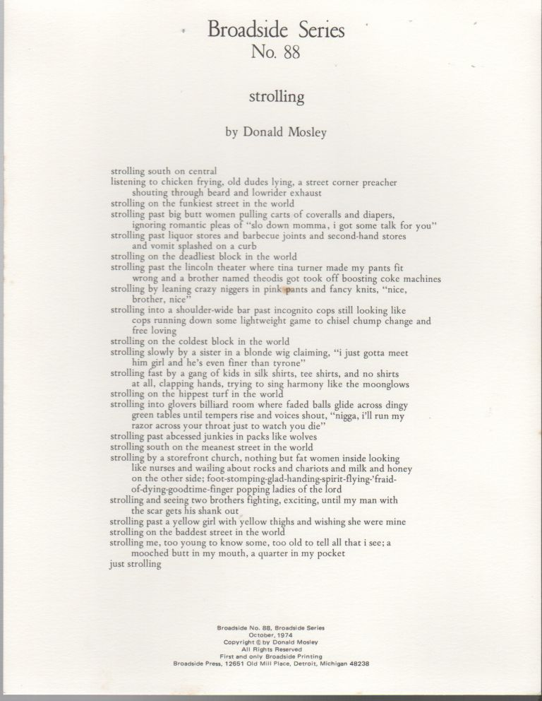 STROLLING (Broadside Series No. 88). Donald MOSLEY.
