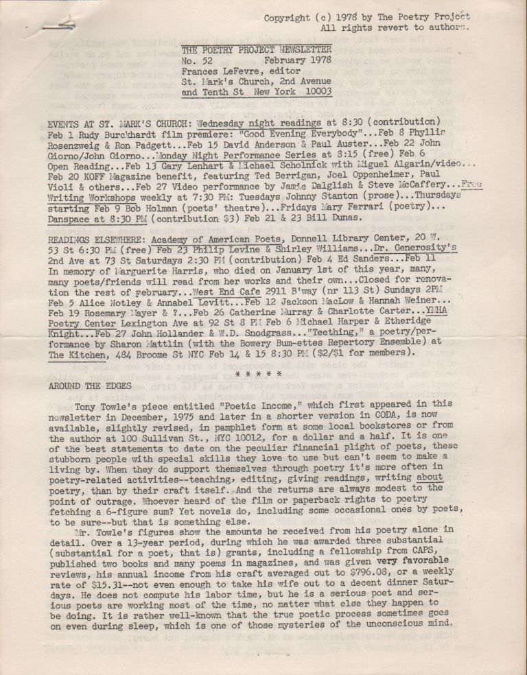 THE POETRY PROJECT NEWSLETTER - No. 52 - February 1978. Poetry Project, Frances LEFEVRE.