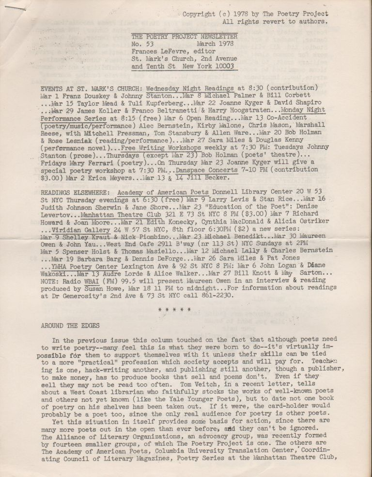 THE POETRY PROJECT NEWSLETTER - No. 53 - March 1978. Poetry Project, Frances LEFEVRE.