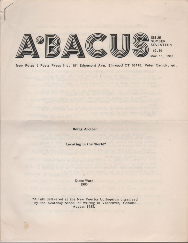 ABACUS - Issue Number Seventeen. Peter GANICK, Diane Ward, Contributor.