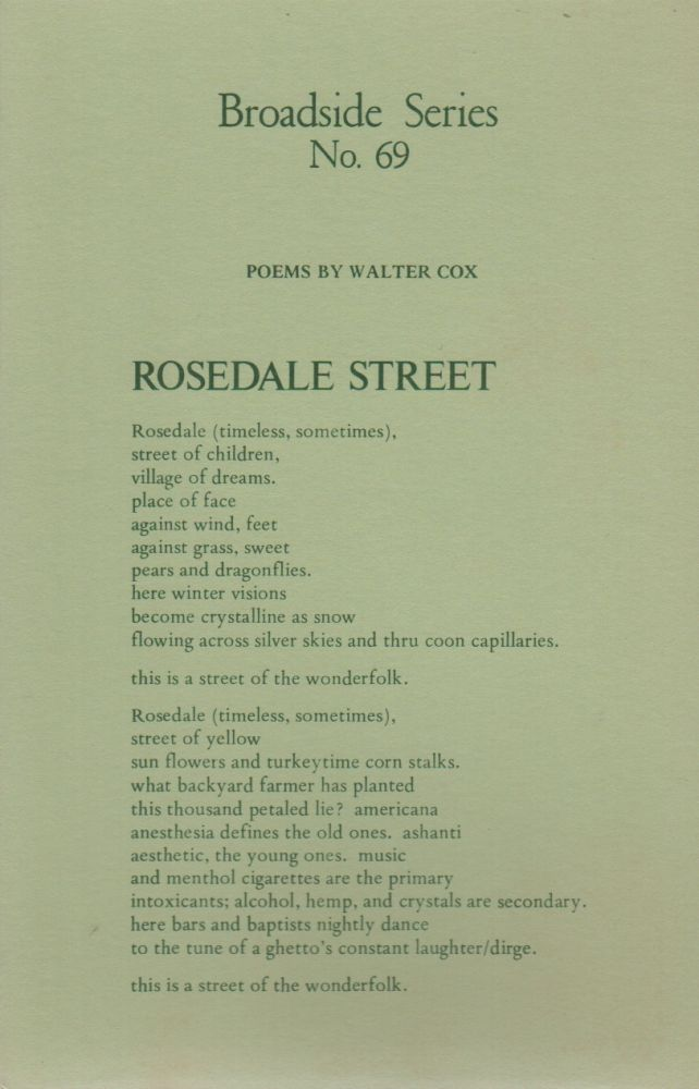 POEMS BY WALTER COX (Broadside No. 69). Walter COX.