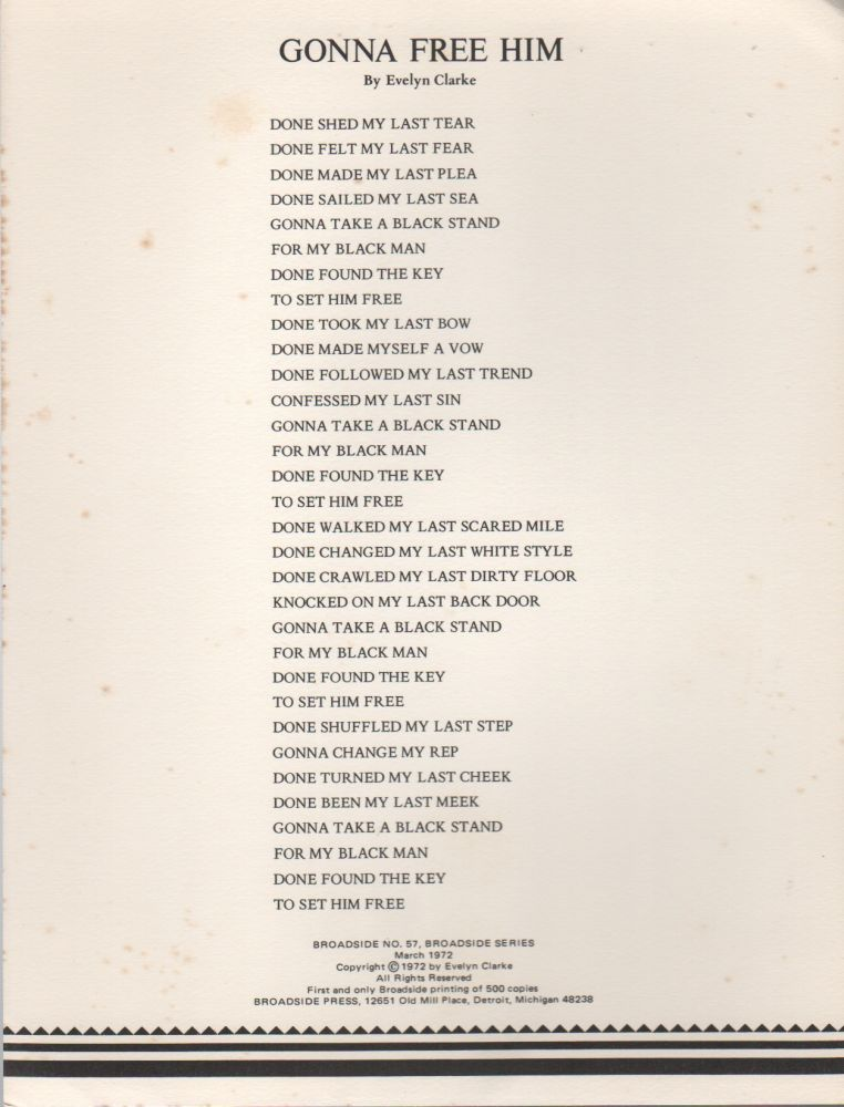 GONNA FREE HIM (Broadside No. 57). Evelyn CLARKE.