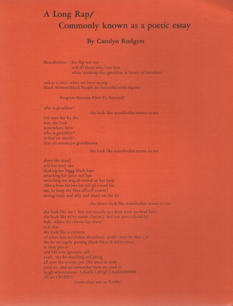A LONG RAP / COMMONLY KNOWN AS A POETIC ESSAY (Broadside Series No. 44). Carolyn RODGERS.