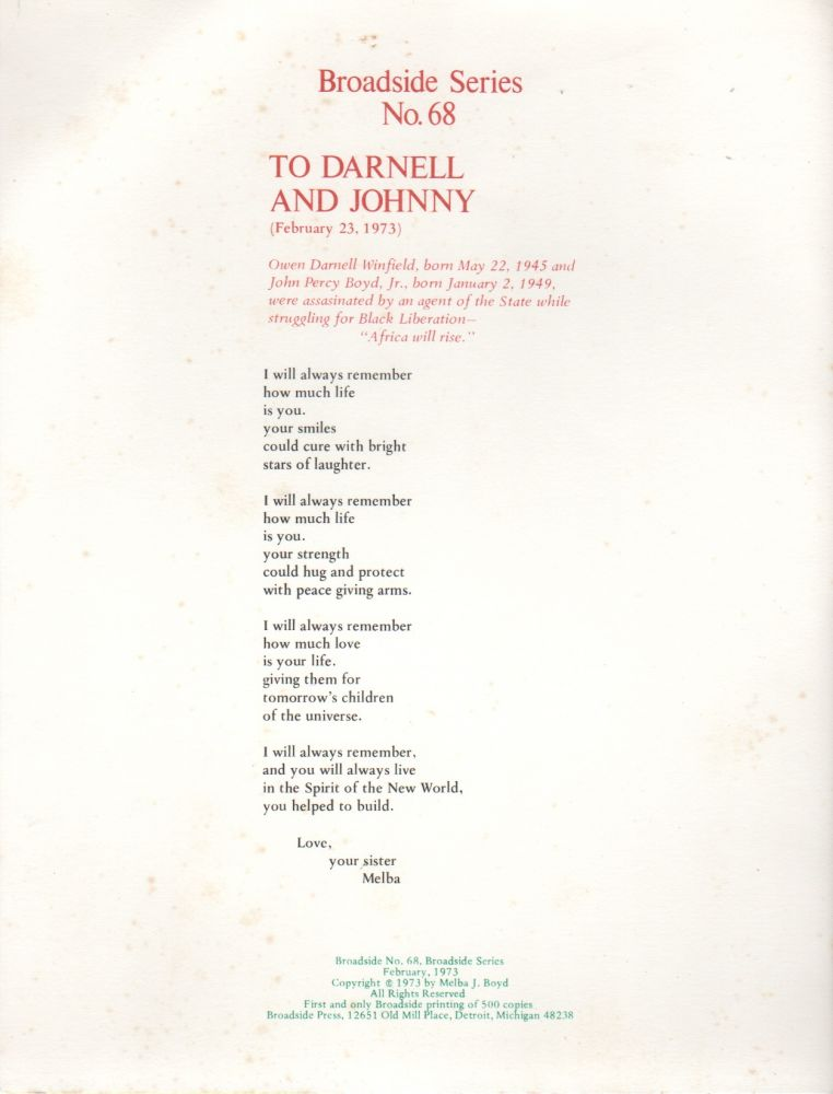 TO DARNELL AND JOHNNY (Broadside No. 68). Melba J. BOYD.