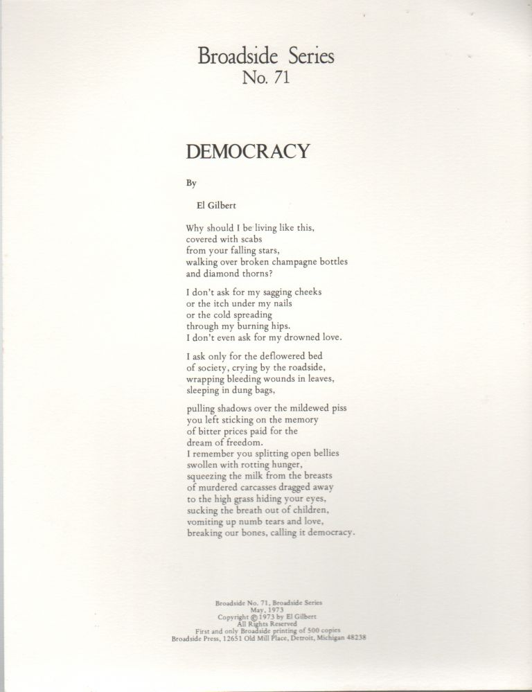 DEMOCRACY (Broadside No. 71). El GILBERT.