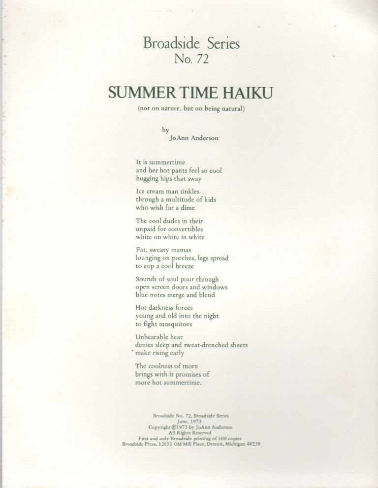 SUMMER TIME HAIKU (Broadside No. 72). JoAnn ANDERSON.