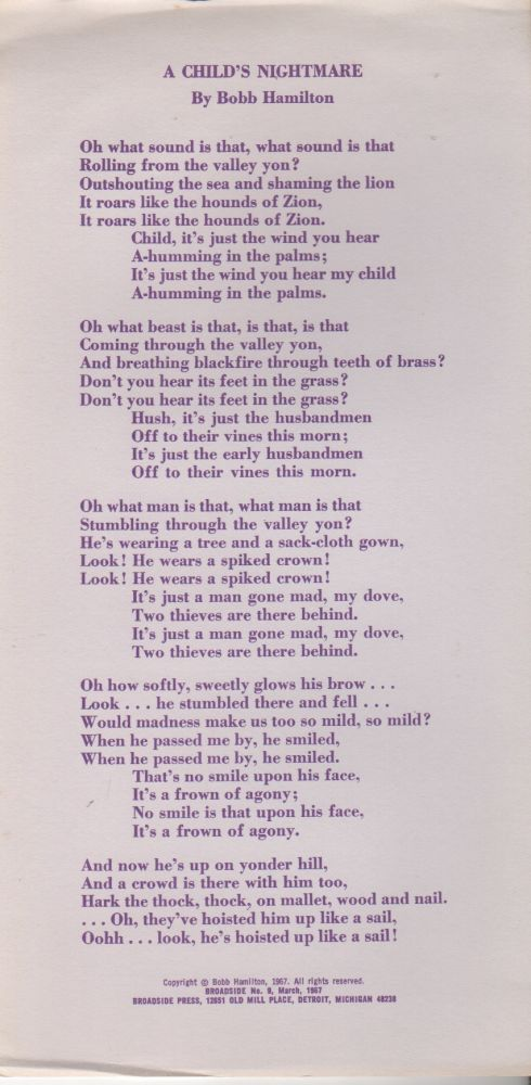 BLACK GIFTS FOR A BLACK CHILD (Broadside No. 56). Chaka SHANGO, Horace Coleman.