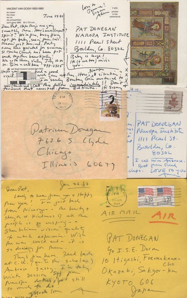 [Collection of Letters and Postcards to Poet Patricia Donegan]. Anne WALDMAN.