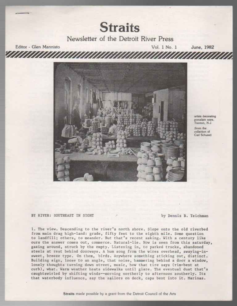 STRAITS: Newsletter of the Detroit River Press - Vol. 1 No. 1 - June 1982. Glen MANNISTO.