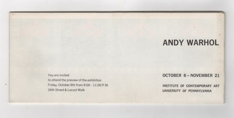 [S&H Green Stamp Invitation / Poster from Warhol's 1965 ICA Retrospective]. Andy WARHOL.