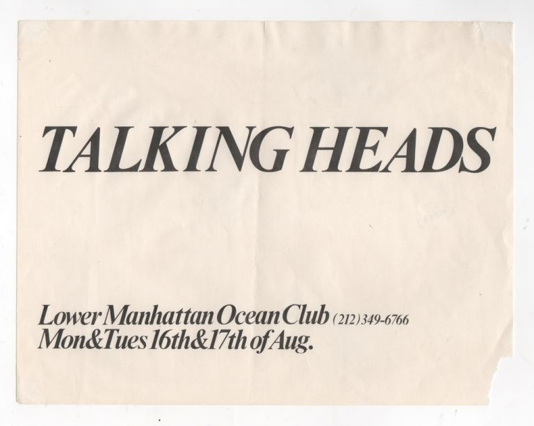 [Original Flyer for Talking Heads Show at The Ocean Club in Lower Manhattan]. Talking Heads.