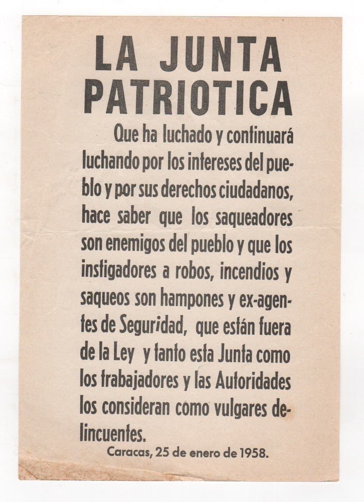 [Original Junta Patriotica Broadside]. Venezuela.