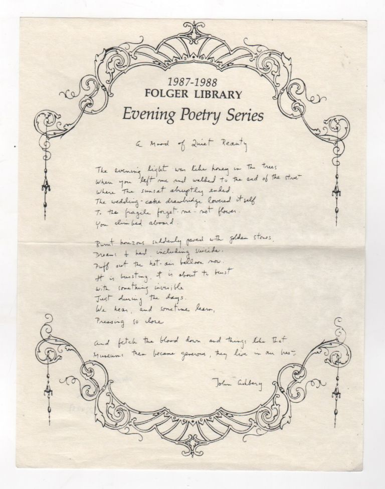 A MOOD OF QUIET BEAUTY / THE BLACK PRINCE [Folger Library Evening Poetry Series] [Set of Two]. John ASHBERY.