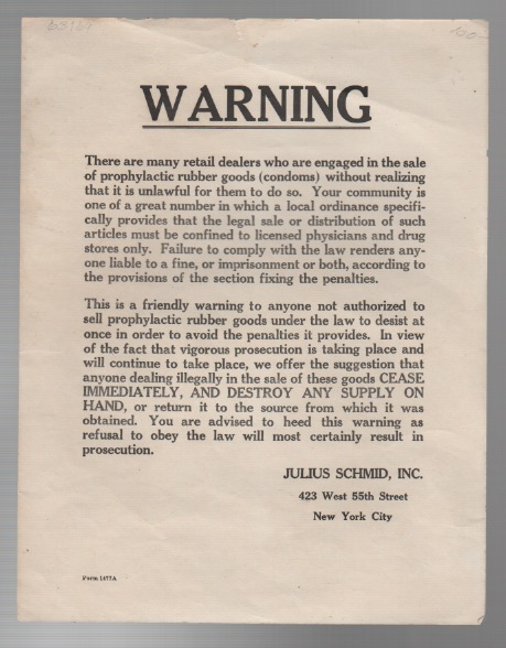 WARNING. Inc Julius Schmid.