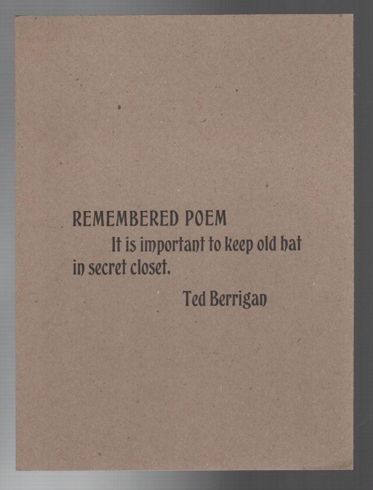 REMEMBERED POEM. Ted BERRIGAN.
