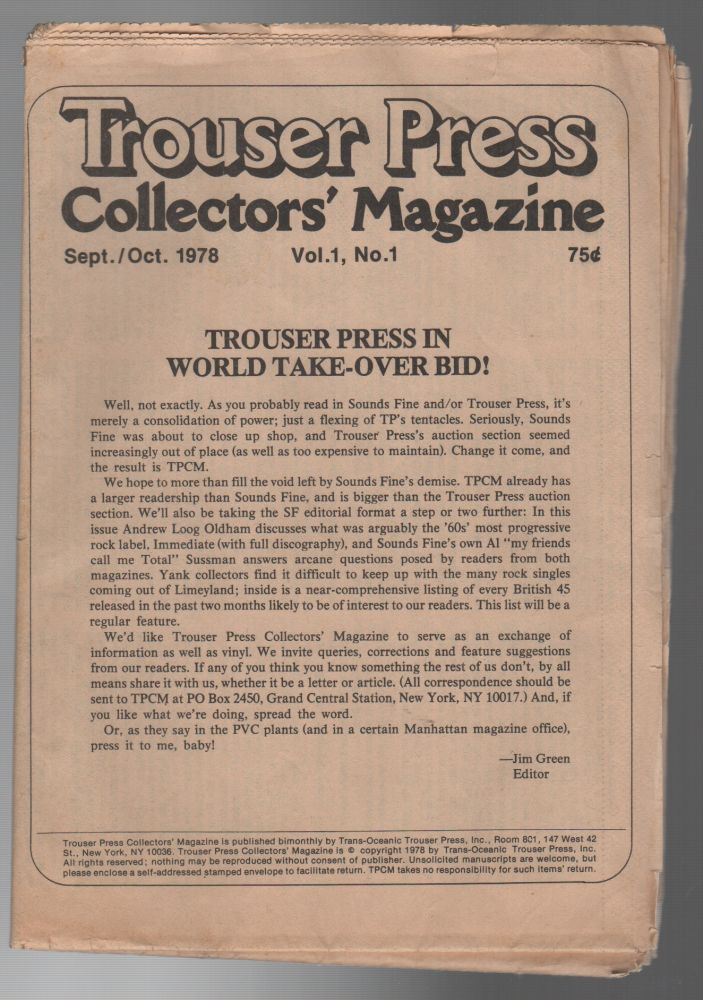 TROUSER PRESS COLLECTORS' MAGAZINE: Issues 1-28. Jim GREEN.