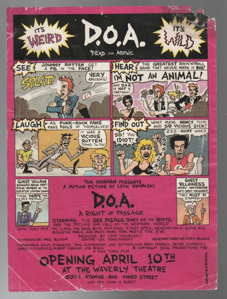D.O.A.: A Right of Passage [Film Premiere Handbill]. HOLMSTROM, Lech Kowalski, ohn.