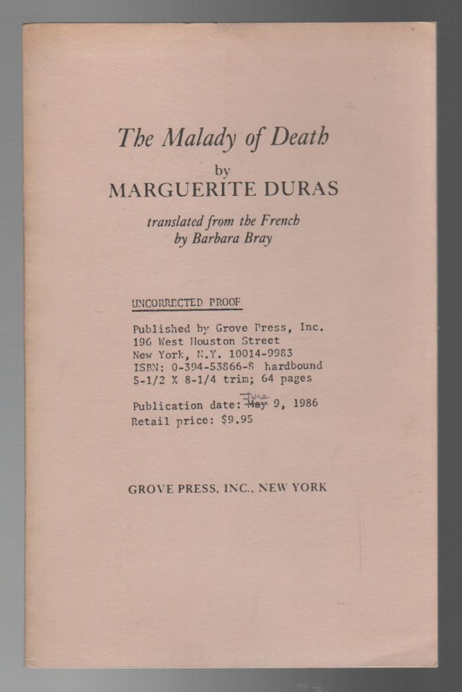 THE MALADY OF DEATH. Marguerite DURAS.