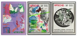 Complete Set of Three Silk-Screened Posters for Cage's Performance of HPSCHD]. John CAGE, Lejaren...