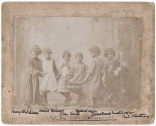 Annotated Photograph of Seven Young Boys in Blackface and Dresses, Captioned on Front in...