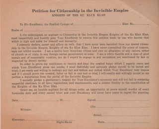 """PETITION FOR CITIZENSHIP IN THE INVISIBLE EMPIRE"""