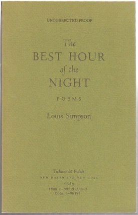 THE BEST HOUR OF THE NIGHT: Poems; [Uncorrected Proof