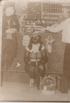 Original B&W Image of Crossdressing Man in Blackface at a Bar