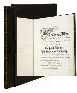 Penn Mutual Life Insurance Co. Memorial Book for Dr. R. Allison Miller]. Insurance, Calligraphy...