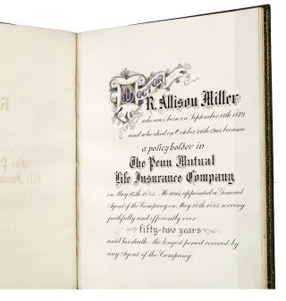 [Penn Mutual Life Insurance Co. Memorial Book for Dr. R. Allison Miller].