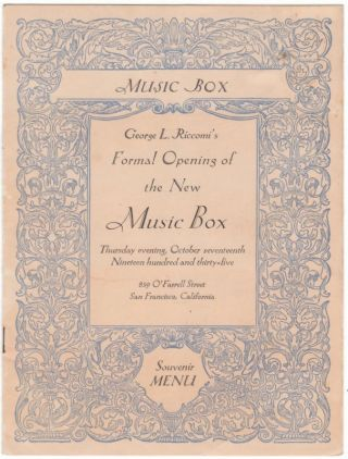 GEORGE L. RICCOMI'S FORMAL OPENING OF THE NEW MUSIC BOX Thursday evening, October seventeenth,...