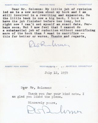 [2 Typed Postcards Signed / TPS to Esquire Editor David Solomon]