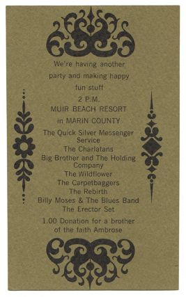 [Original Show Invitation Card for a May 1966 Marin County, CA Concert]