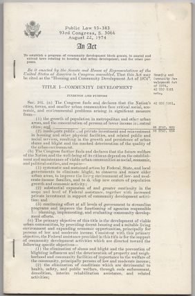 Original Printed Summary of the Housing and Community Development Act of 1974