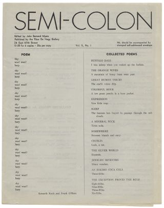 SEMI-COLON Vol. 2 No. 1. John Bernard MYERS