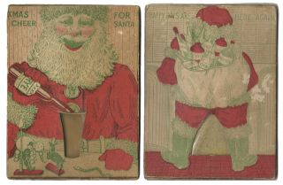 XMAS CHEER FOR SANTA [Movable Sand Card]. Scatology, Novelty Movable Card