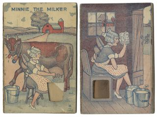 MINNIE THE MILKER [Movable Sand Card]. Scatology, Novelty Movable Card