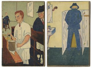 Bartender Filling Glass - Man Urinating]. [Movable Sand Card
