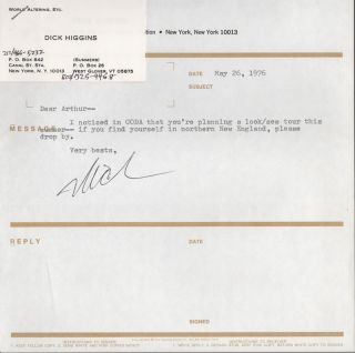Small Collection of Correspondence between Dick Higgins and Arthur & Glee Knight, 1973-1976