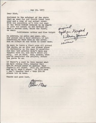 [Small Collection of Correspondence between Dick Higgins and Arthur & Glee Knight, 1973-1976]