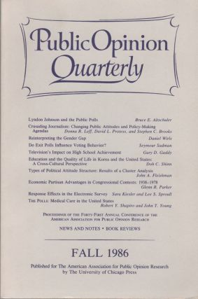 PUBLIC OPINION QUARTERLY, Volume 50, Number 3. Fall 1986