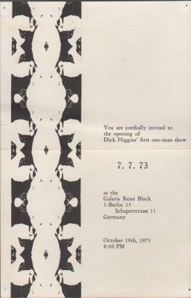 INVITATION FOR DICK HIGGINS' FIRST SOLO EXHIBITION
