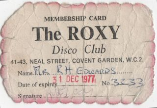 First-Year Membership Card for The Roxy in Covent Garden]. Nightclubs, The Roxy