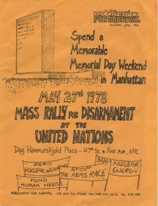 Flyer for a Mass Rally for Disarmament at the United Nations