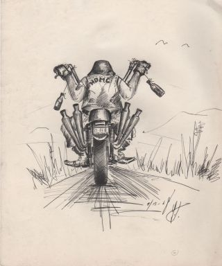 Original Pen-and-Ink Drawing of Outlaw Biker