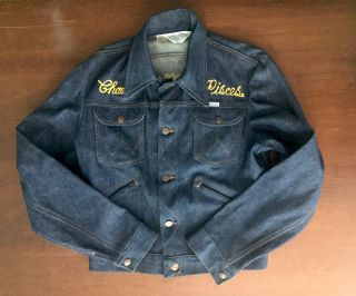 [Original 1970s Woman's Biker Club Denim Jacket]