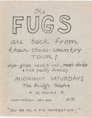 THE FUGS ARE BACK FROM THEIR CROSS-COUNTRY TOUR! [etc.] [Original Concert Broadside