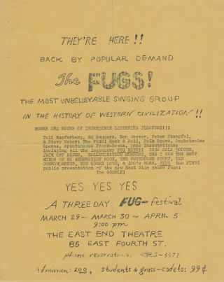 "THEY'RE HERE! BACK BY POPULAR DEMAND THE FUGS! [etc.] [Original Flyer for ""Three Day Fug-Festival"""